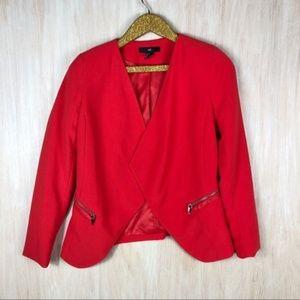 H&M Divided Open Front Coral Zipper Pockets Blazer